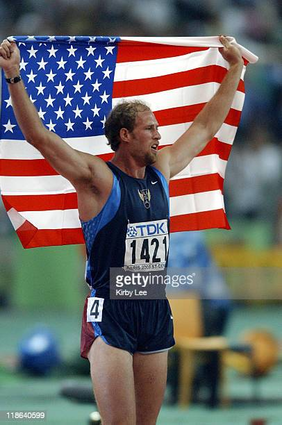 Decathlon winner Tom Pappas of the United States during IAAF World Championships in Athletics August 27 2003 at Stade de France in St Denis France