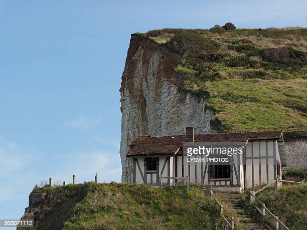 Decay house on cliff, Les Petites Dalles
