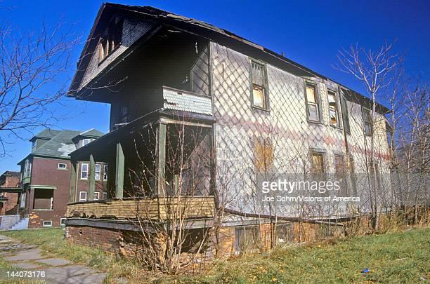 Decayed Building In Detroit MI Slum