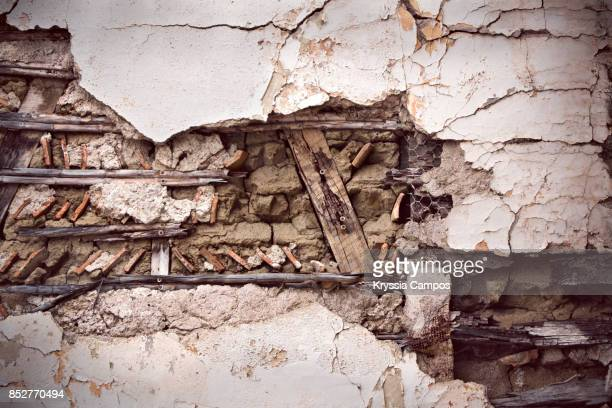 decayed wall in an abandoned farmhouse - deterioration stock pictures, royalty-free photos & images