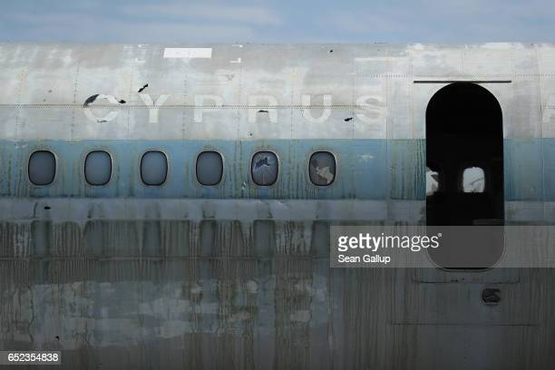 Decaying and abandoned passenger plane of Cyprus Airways stands at Nicosia International Airport inside the buffer zone on the southern, Greek side...