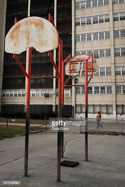 Decaying basketball hoops stand outside 1230 N Burling St the last occupied highrise building in the CabriniGreen public housing complex on December...