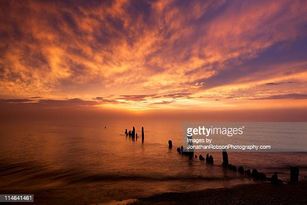 decaying breakwater at sunrise - rotten com stock pictures, royalty-free photos & images