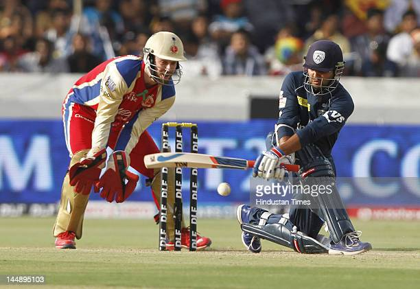 Deccan Chargers batsman Parthiv Patel plays a shot during IPL 5 T20 match played between Deccan Chargers and Royal Challengers Bangalore at Rajiv...
