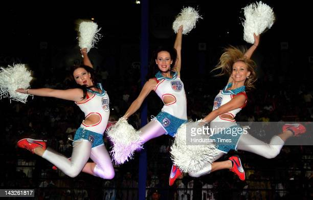 Deccan Chargers cheer girls perform during IPL 5 T 20 cricket match played between Deccan Chargers and Kolkata Knight Riders at Barabati Stadium on...