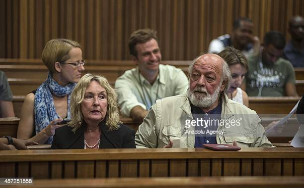 Deceased Reeva Steenkamp's mother June Steenkamp and father Barry Steenkamp , attends the trial for the Olympic double-amputee sprinter Oscar...