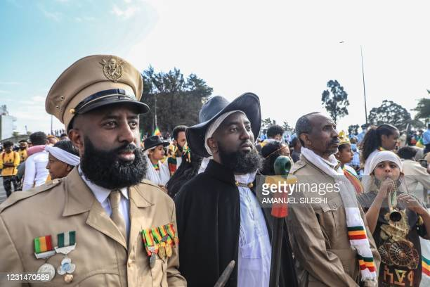 Decedents of the war veterans attend the celebration of the 125th victory of Adwa, at Menelik square in Addis Ababa, Ethiopia, on March 2, 2021. -...