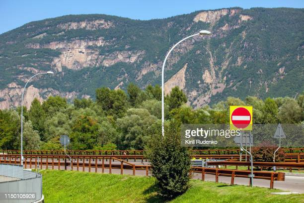 Deceleration lane leading to a rest station from an autobahn in South Tyrol, Italy