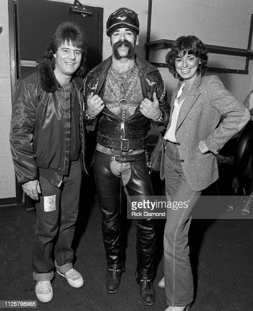 Mike Martin Casablanca Records with Glenn Hughes of the Village People backstage during Z93 Annual Toys For Tots concert at The OMNI Coliseum in...
