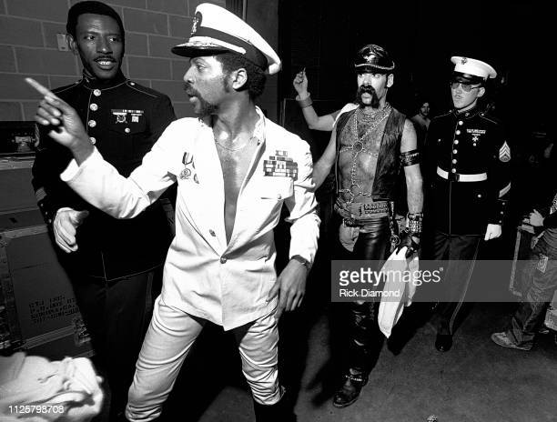Victor Willis and Glen Hughes of Village People backstage during Z93 Annual Toys For Tots concert at The OMNI Coliseum in Atlanta Georgia December 02...