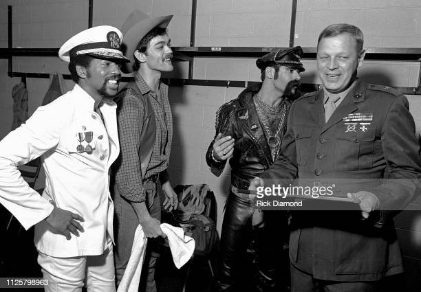 Victor Willis Randy Jones and Glenn Hughes of Village People backstage during Z93 Annual Toys For Tots concert at The OMNI Coliseum in Atlanta...