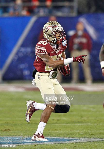 Florida State Seminoles wide receiver Rashad Greene points to a defender after a completion in the first half at Bank of America Stadium in Charlotte...