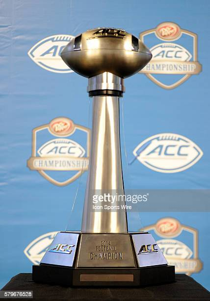The ACC Championship trophy sits on stage during the ACC Championship at Bank of America in CharlotteNC