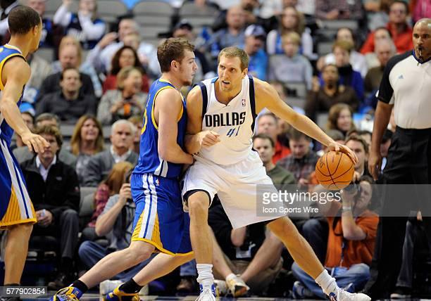Dallas Mavericks power forward Dirk Nowitzki in the low post in an NBA game between the Golden State Warriors and the Dallas Mavericks at the...