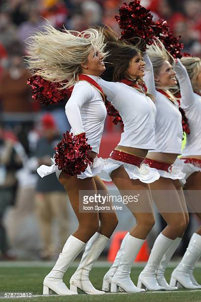The Kansas City Chiefs cheerleaders entertain the crowd during the Denver Broncos 3528 victory over the Kansas City Chiefs at Arrowhead Stadium in...