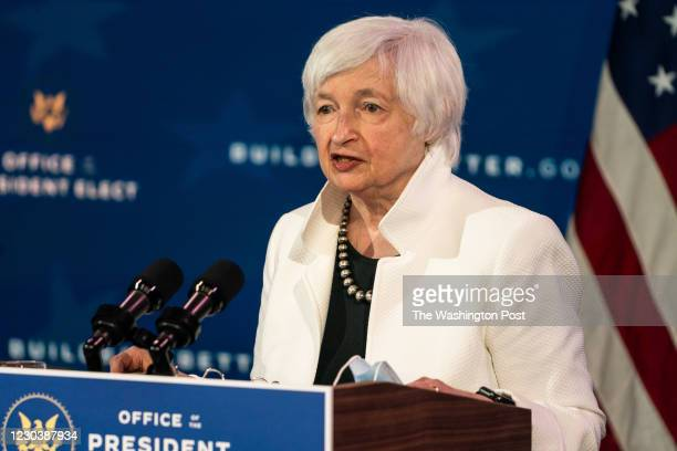 December 1, 2020: Former Federal Reserve Chair, Janet L. Yellen, President- elect Joe Biden pick to be Treasury Secretary, speaks at the Queen in...