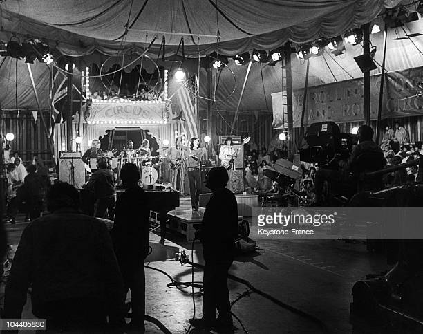 December 10 1968 The ROLLING STONES giving a concert at the end of the recording of the show THE ROLLING STONES ROCK AND ROLL CIRCUS SHOW at the...