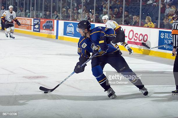 Canadian professional hockey player Mike Glumac of the AHL's Peoria Rivermen skates on the ice during an away game against the Chicago Wolves at...