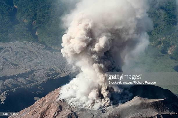 December 11, 2005 - Eruption of ash cloud from Santiaguito dome complex, Santa Maria volcano, Guatemala.