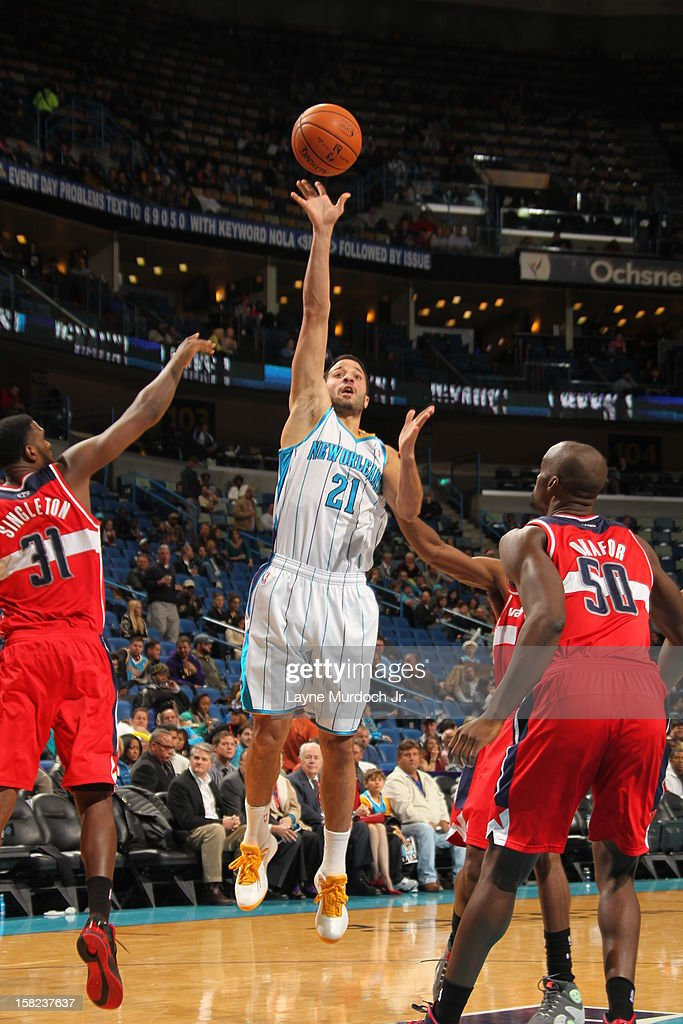Greivis Vasquez #21 of the New Orleans Hornets shoots the ball against the Washington Wizards on December 11, 2012 at the New Orleans Arena in New Orleans, Louisiana.