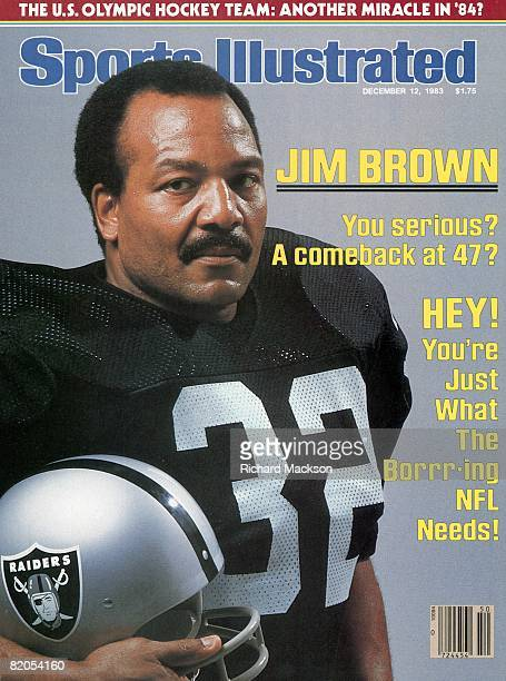 December 12 1983 Sports Illustrated Cover Football Closeup portrait of former Cleveland Browns player and Hall of Famer Jim Brown wearing Los Angeles...