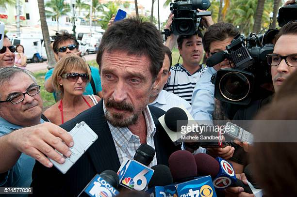 December 13, 2012 - John McAfee talks to the media at the Beacon Hotel where he is staying after arriving last night from Guatemala on December 13,...