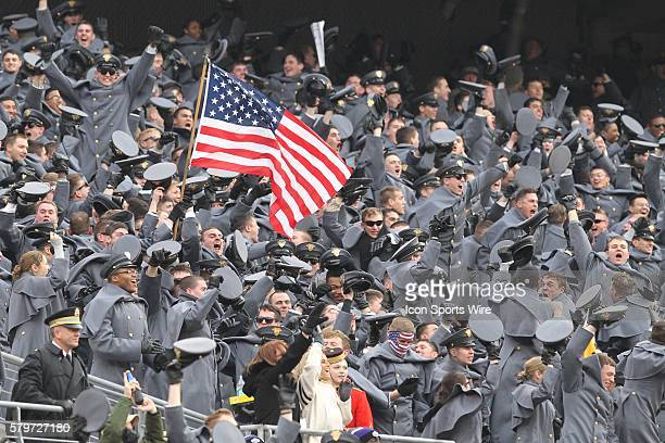 Cadets erupt as Army blocks an early Navy punt to get on the board first during 115th Army Navy football game between the Navy Midshipmen and the...