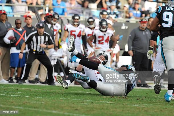 December 13   Sunday: Kawann Short DT Carolina Panthers forces a fumble from Matt Ryan QB Atlanta Falcons in the NFL NFC South game at Bank of...