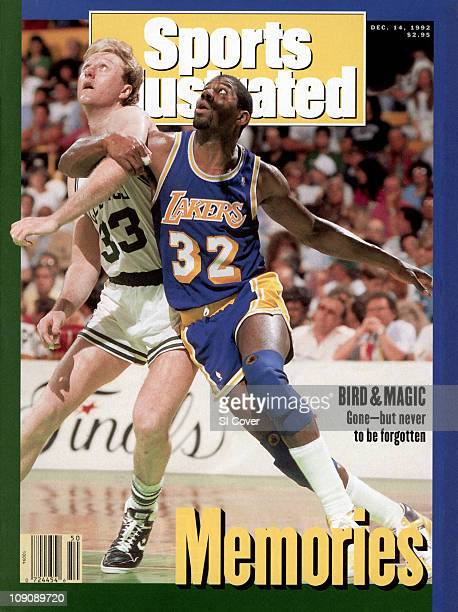 December 14 1992 Sports Illustrated CoverBasketball NBA Finals Los Angeles Lakers Earvin Magic Johnson in action boxing out vs Boston Celtics Larry...