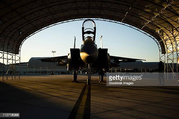december 14, 2010 - a u.s. air force f-15e strike eagle aircraft waits to take part in a training mission at seymour johnson air force base, north carolina. - base militare foto e immagini stock