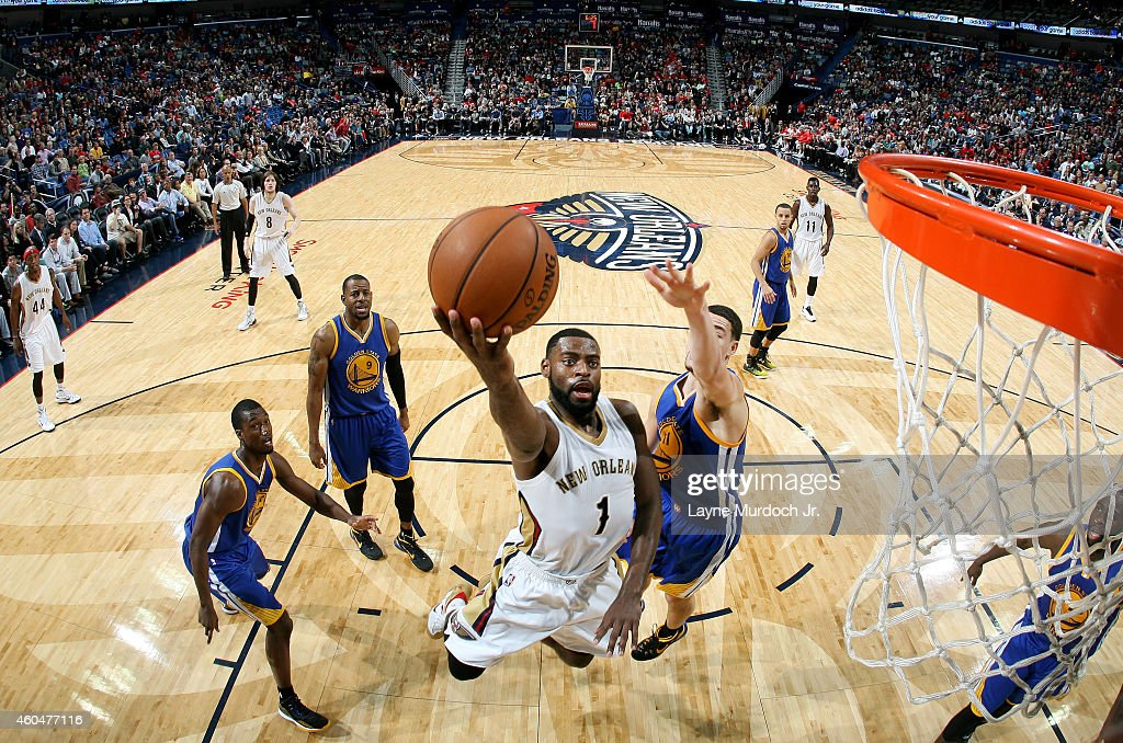Tyreke Evans #1 of the New Orleans Pelicans goes for the layup against the Golden State Warriors during the game on December 14, 2014 at Smoothie King Center in New Orleans, Louisiana.