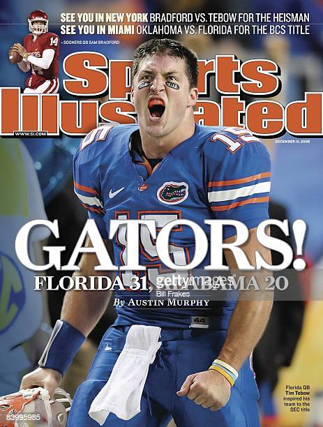 December 15, 2008 Sports Illustrated via Getty Images Cover: College Football: SEC Championship: Florida QB Tim Tebow yelling from sidelines during...
