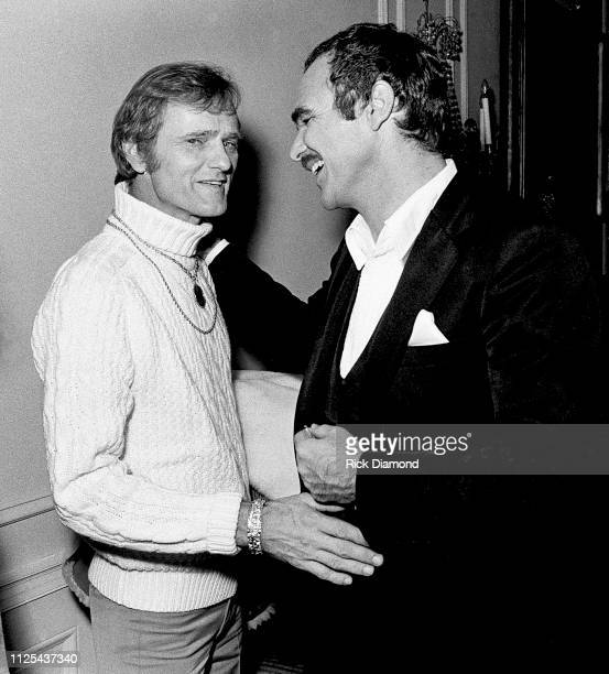Jerry Reed and Burt Reynolds attend Sharky's Machine World Premiere after party hosted by Governor George Busbee at The Georgia Governors Manision in...