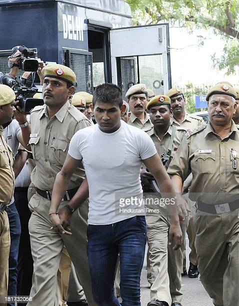 December 16 Delhi bus gang rape accused Vinay Sharma brought to Delhi High Court under high security for hearing on September 24 2013 in New Delhi...