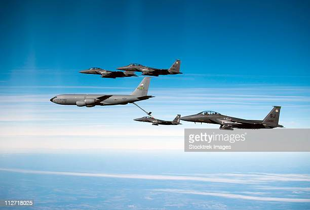 December 17, 2010 - A U.S. Air Force F-15E Strike Eagle aircraft is refueled by a KC-135R Stratotanker over North Carolina during a local training mission.