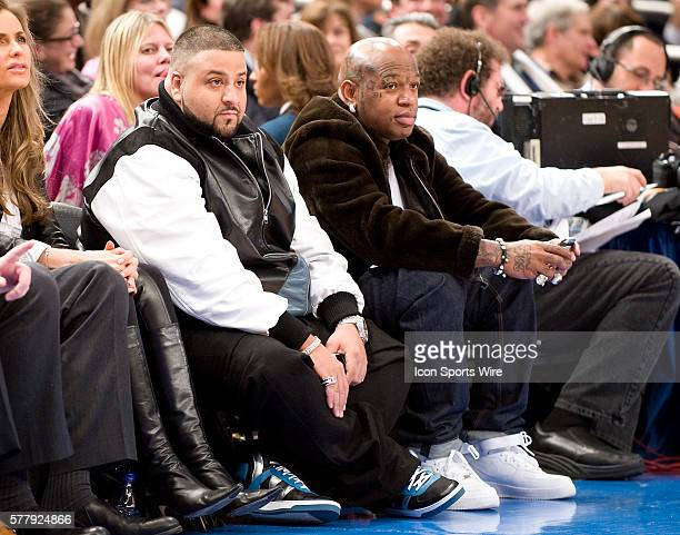Miami Heat at New York Knicks at Madison Square Garden DJ Khaled and Cash Money Records CEO Baby attend tonight's game