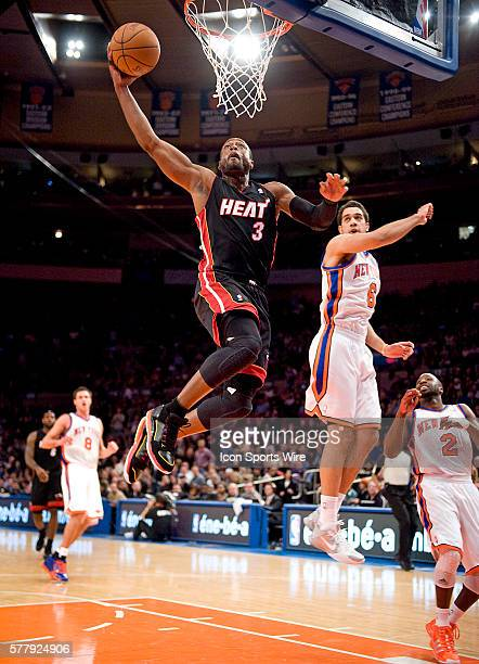Miami Heat at New York Knicks at Madison Square Garden Heat Dwyane Wade goes up for a shot during tonight's game