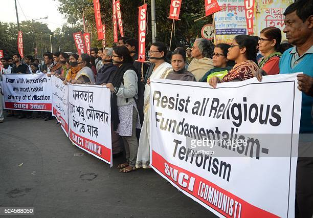 December 17 Kolkata India Activists of SUCI Organization participated in silent protest rally for Tuesday's Taliban attack on school in Peshawar