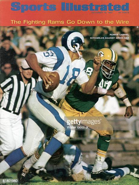 December 18, 1967 Sports Illustrated via Getty Images Cover, Football: Los Angeles Rams QB Roman Gabriel in action, scrambling vs Green Bay Packers...