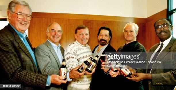 "Hosting their new ""Legends Lager"" beer, from L-R are; Bob St. Clair former 49er, Daryle Lamonica and Jim Otto, former Raiders, Artist Gil Garitano,..."
