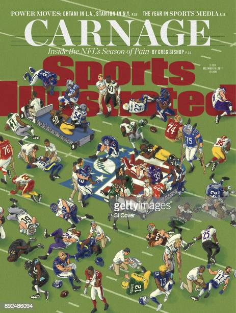 December 18 2017 Sports Illustrated Cover Illustration of various NFL players injured on field Cover illustration by Andrew Degraff Cover