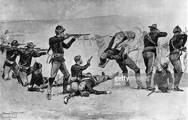 Members of the 7th Cavalry firing the opening shots in the Battle of Wounded Knee where over 300 Sioux were slaughtered in a few minutes Original...