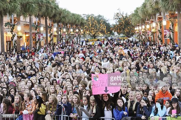 DISNEY December 19 2009 NBT winner Jasmine Sagginario opens for worldwide sensation Justin Bieber at a Radio Disney AM 990 concert at Celebration...