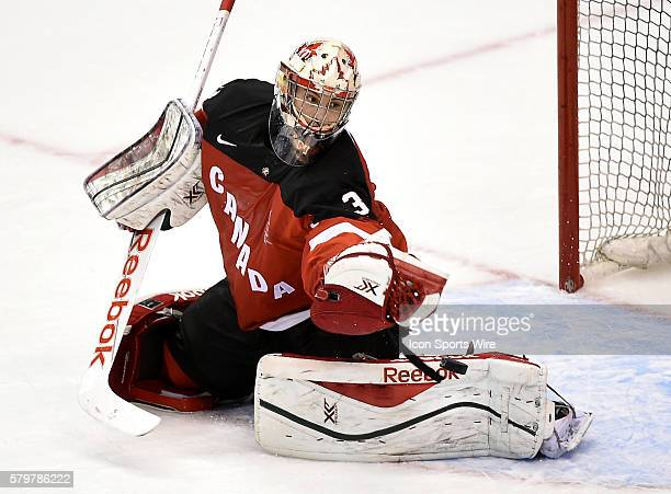 Canada goalie Zach Fucale makes a glove save during Canada's 21 loss to Russia in a tune up game for the world junior championships at Air Canada...