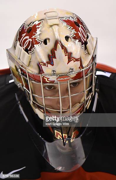 Canadian goalie Zach Fucale watches proceedings during warm up prior to playing Russia in a tuneup game for the world junior championships at Air...