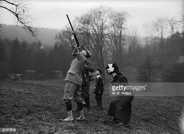 Lord and Lady Granard at a pheasant shoot at Warter Priory.