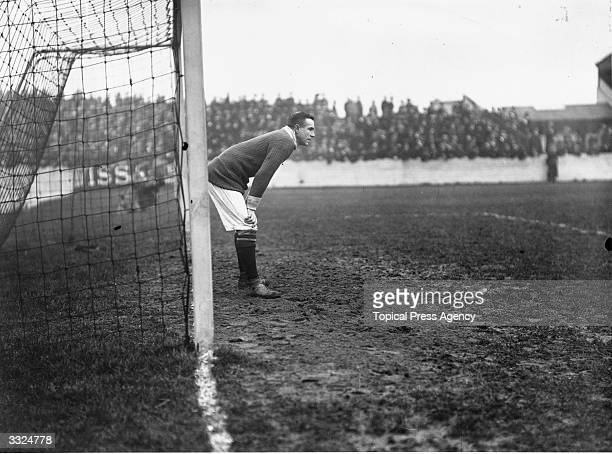 Footballer Roose, goalkeeper of Woolwich Arsenal FC, at the goalmouth during a match against Middlesbrough.