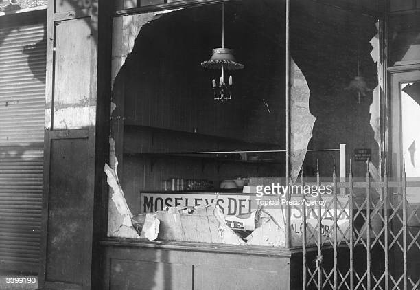 Bomb damaged shops with the gas mantles still in tact in Scarborugh Yorkshire following the German bombardment of the seaside town