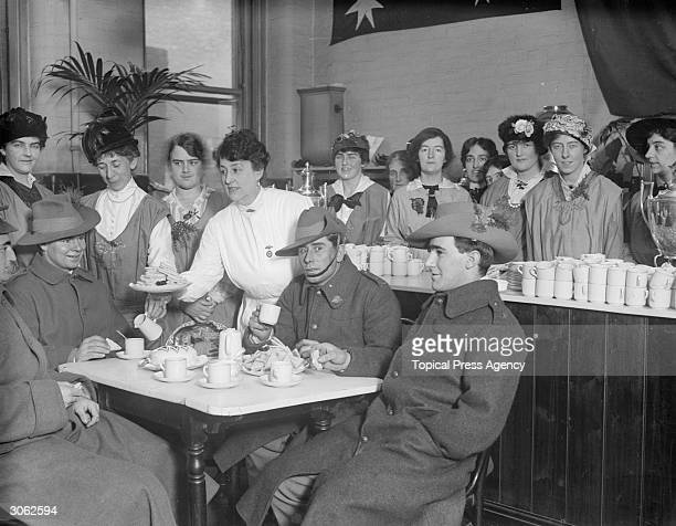 Australian soldiers at the Anzac buffet.
