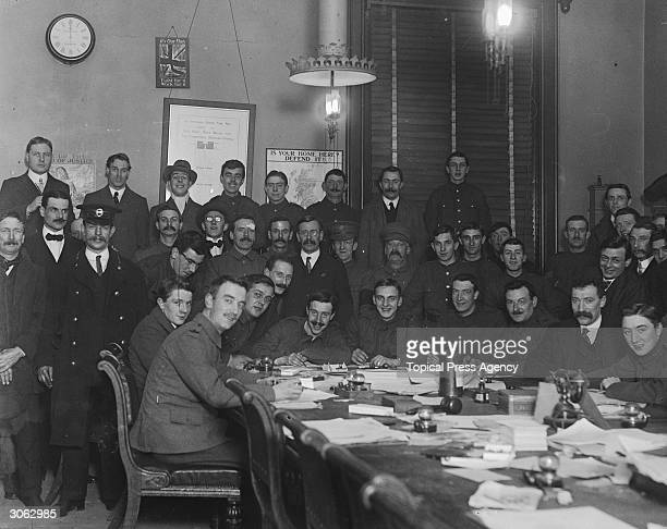 Men attending Lord Derby's recruiting campaign in Camberwell